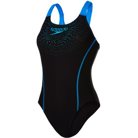 speedo Gala Logo Medalist Swimsuit Women Black/Neon Blue